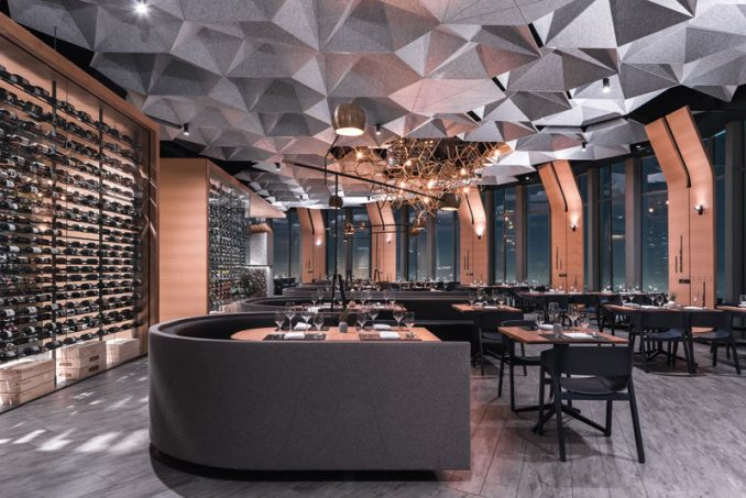 Tag Front Architects have designed 71 Above, a modern restaurant in Los Angeles, California, that wraps around the entire top floor of the US Bank Tower and has 360 degree views. #RestaurantDesign #Restaurant