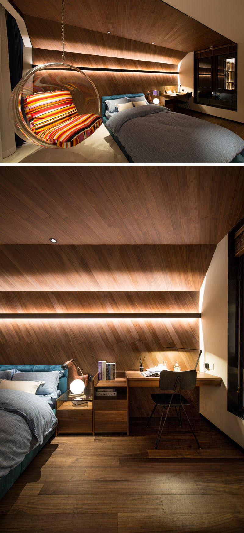 Design Detail This Childrens Bedroom Features A Wrap Around Wood Accent Wall With Hidden Lighting