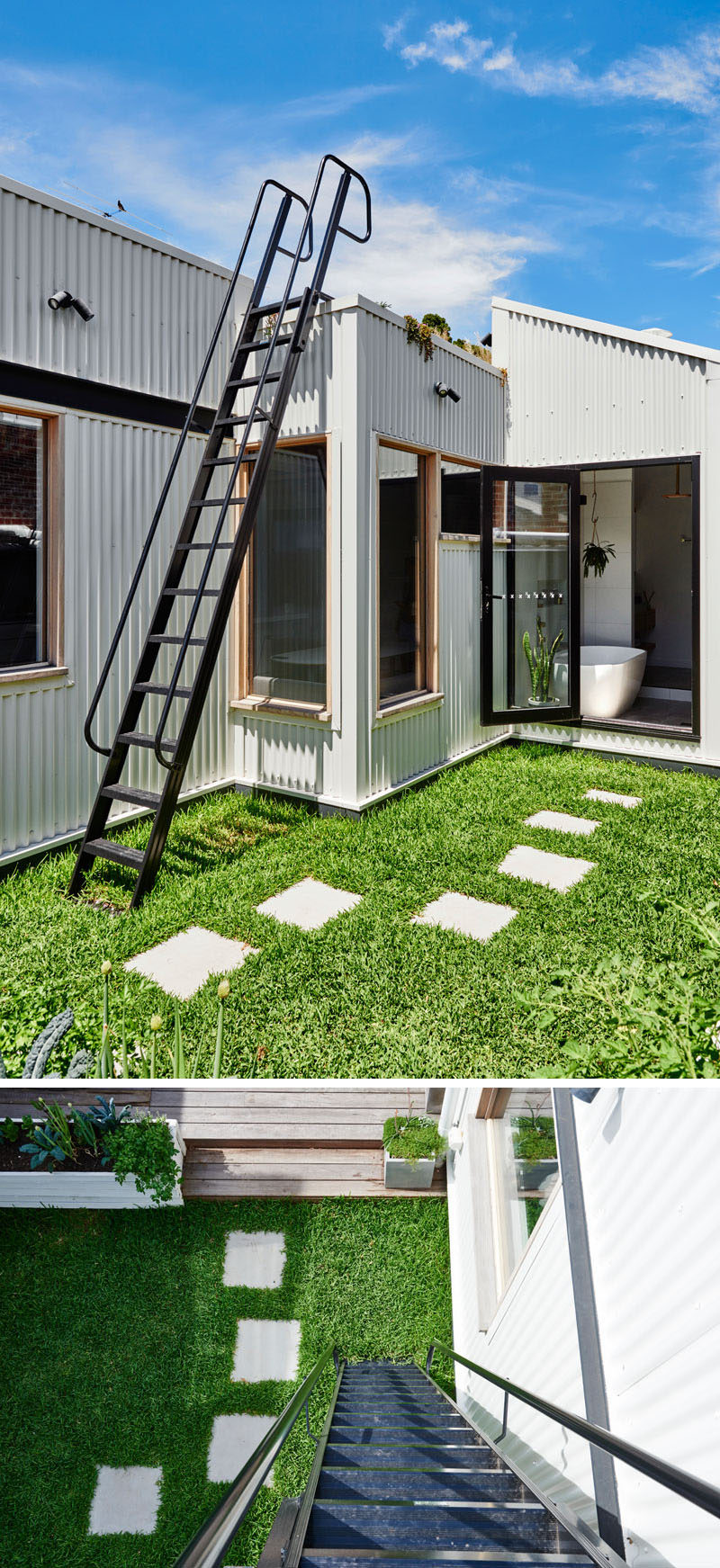 This renovated house has a small grassy area with stepping stones that lead to a steel ladder that goes up onto the roof. #Ladder #Landscaping