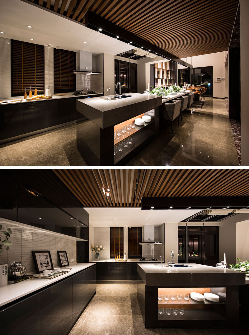 Design Detail This Extra Long Kitchen Island Is Used As A Food Prep Area A Dining Table And