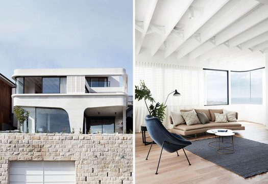 Luigi Rosselli Architects have designed a new house built above anexisting garage and sandstone retaining wall in a suburb of Sydney Australia. #ModernHouse #ConcreteHouse