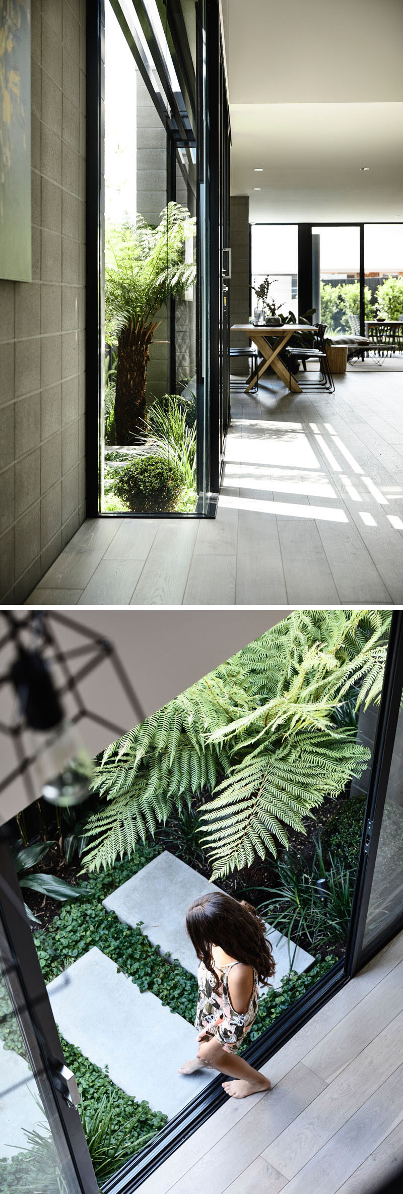 This modern house has a small side courtyard that can be accessed through sliding glass doors. #Landscaping #Garden