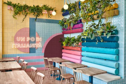Spanish creative consultancy firm Masquespacio, have recently completed the design of Piada, a modern Italian restaurant that's located in Lyon, France. Click through to see more photos. #RestaurantDesign #ModernRestaurant #Plants #InteriorDesign