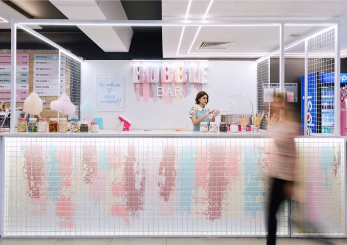 LYSIUK architects have designed Bubble Bar, a small cafeteria-like dessert bar that specializes in waffles, ice-cream, and candyfloss. #DessertBar #Design #Architecture