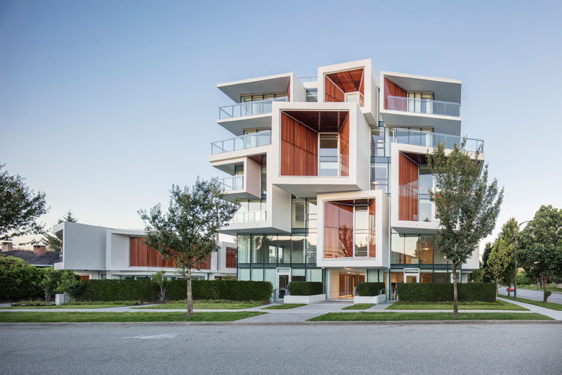 Arno Matis Architecture have designed a multi-residential building in Vancouver, Canada, that features a natural wood-glass skin and green roofs. #ApartmentBuilding #WoodGlassSkin #Architecture
