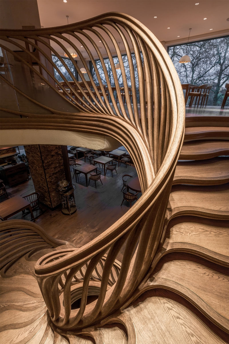 16 Photos Of An Amazingly Sculptural Wood Staircase Inside A | Wooden Staircases For Sale | Cheap | Steel | Landing | House | New Model