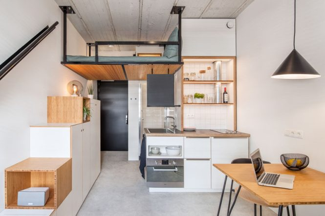 This Small Apartment Has A Loft Bed