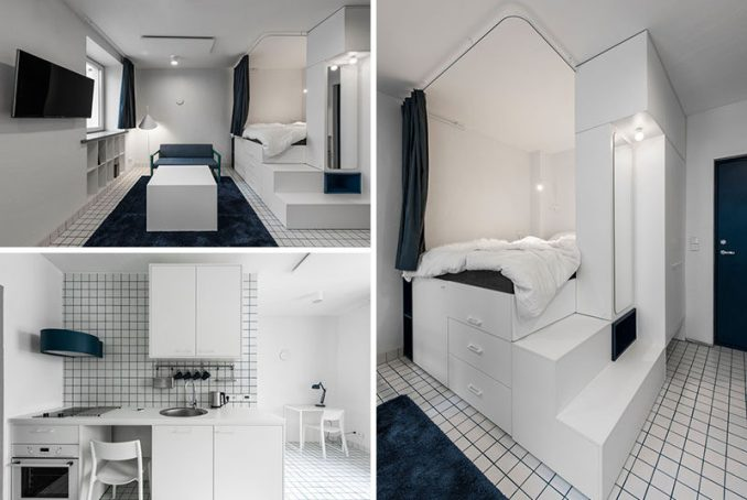 This micro apartment has a lofted bed with storage underneath, a living area, kitchenette, and bathroom. #MicroApartment #StudioApartment #LoftBed #BedWithStorage #SmallApartment