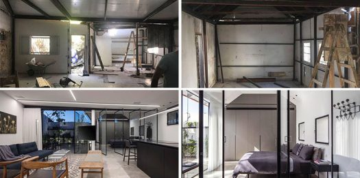 BEFORE + AFTER - Israeli architect Raz Melamed, has recently completed the renovation of a 753 square foot (70m2) studio apartment, for a couple who wished to create a modern getaway for themselves in the historic Neve Tzedek neighborhood in Tel Aviv. #Renovation #InteriorDesign #Architecture #ModernInterior