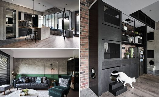 White Interior Design have recently completed an apartment in Taipei, Taiwan, that combines black elements with glass, brick, wood, and tile for a contemporary appearance. #Apartment #InteriorDesign