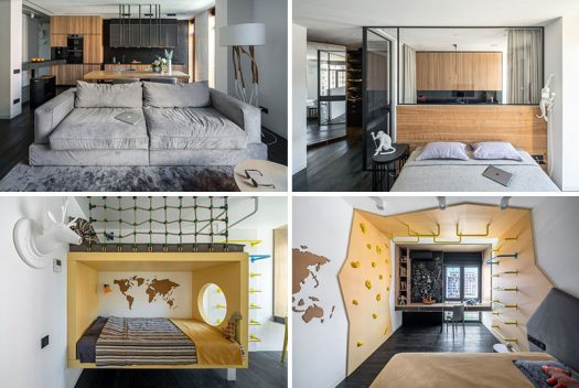 This modern family apartment has a grey, wood and black color palette, except for the children's bedrooms, which feature bright yellow accents. #ModernApartment #InteriorDesign