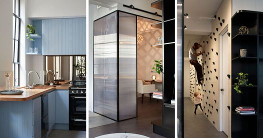 This modern apartment features a light powder blue kitchen, a home office with polycarbonate walls, and a rockclimbing wall. #ModernApartment #InteriorDesign