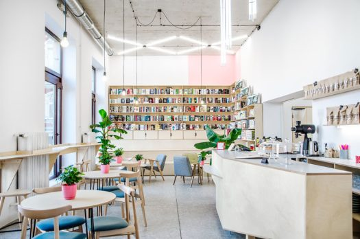 Atelier Starzak Strebicki have recently completed Kahawa, a combined coffee house and bookshop in Poznan, Poland, that's located within an a former milk bar. #CoffeeShop #BookShop #InteriorDesign