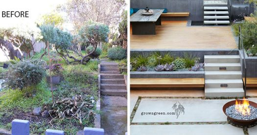 Before & After - This backyard was transformed into a modern tiered garden with seating, a firebowl, a water feature, and stairs connecting the different levels. #ModernBackyard #ModernLandscaping #TieredBackyard