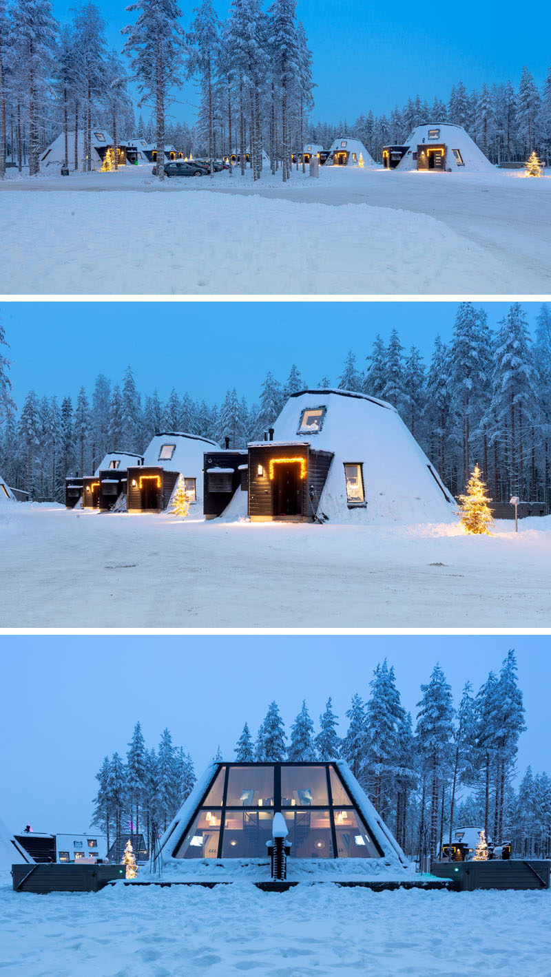 This winter resort is made of a group of contemporary and distinctive wooden cabins, where comfort, generosity of space, and compelling views towards the surrounding forest and sky are central to the design. #Resort #Finland #Cabins