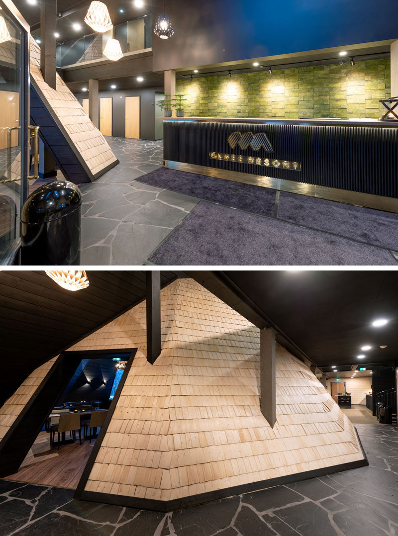 This modern winter resort has a reception area, and adjacent to the reception is a wood shingled hut, that's home to the resort's restaurant. #Shingles #HotelDesign