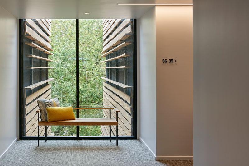 This modern hotel has custom-designed benches that allow guests to take a moment to appreciate the tree views. #HotelDesign #Furniture