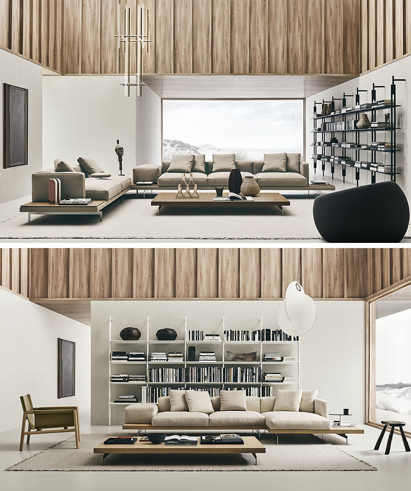 B&B Italia have introduced their new upholstered Dock sofa system, that's been designed by Piero Lissoni. #Couch #Seating #ModernCouch #ModernFurniture
