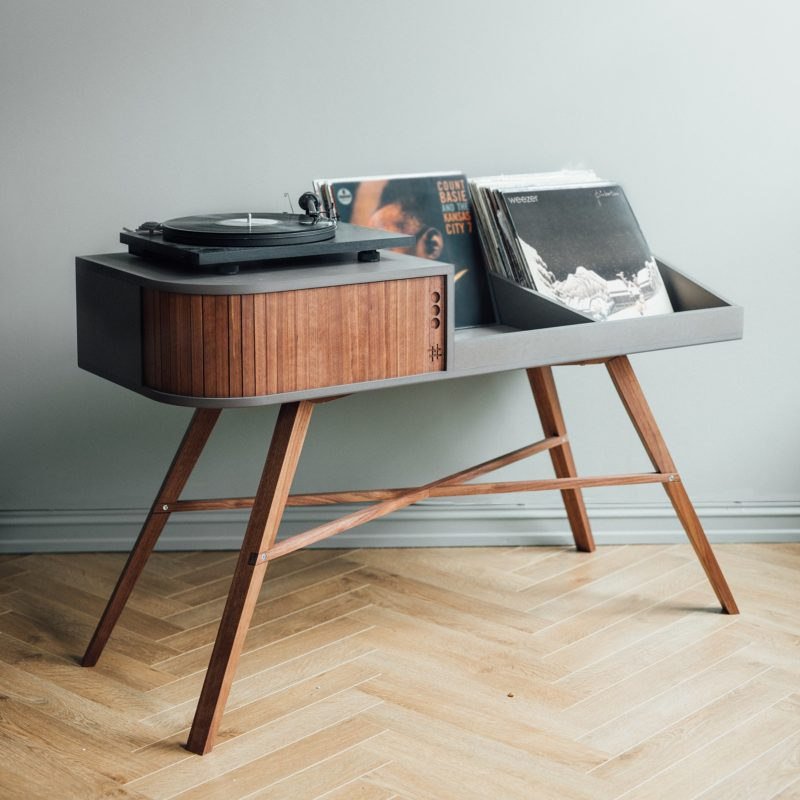 Record Storage Ideas - Norwegian furniture brand HRDL, has designed The Vinyl Table, a modern console that shows off the turntable and displays your record collection. #RecordStorage #Records #Music #Turntable #RecordDisplay