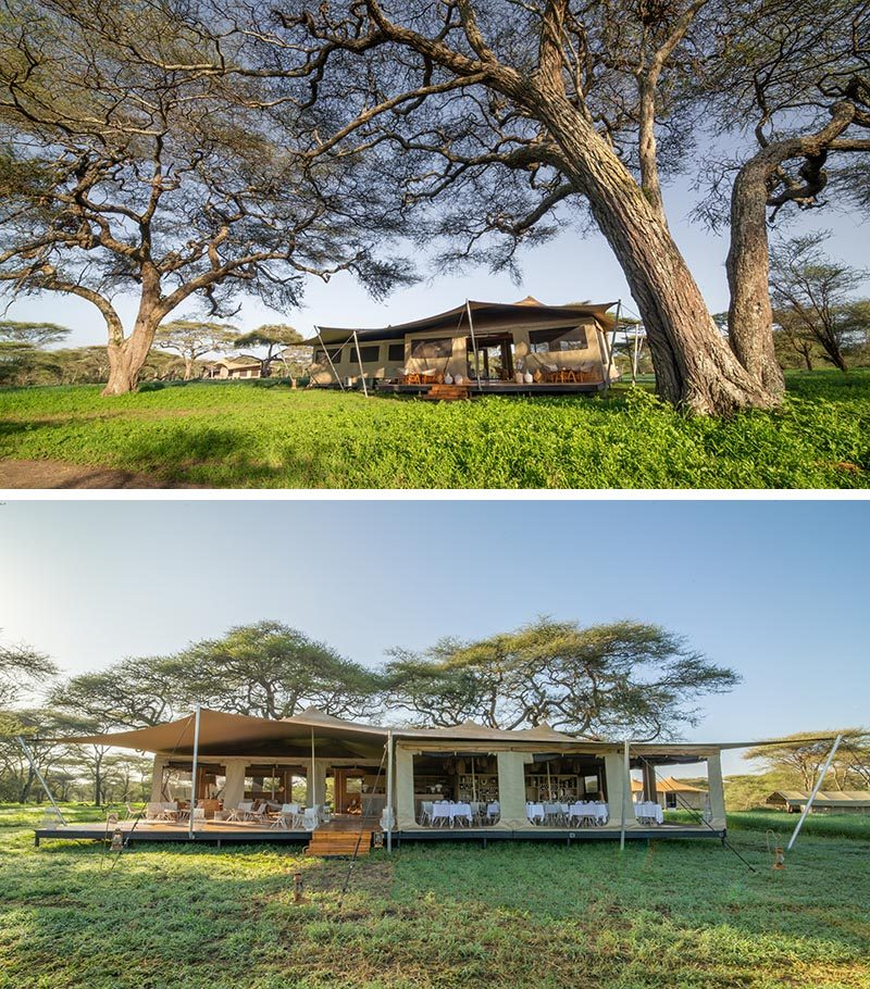 The Roving Bushtops' central mess tent combines a restaurant, a lounge, and a covered deck. #Safari #Serengeti