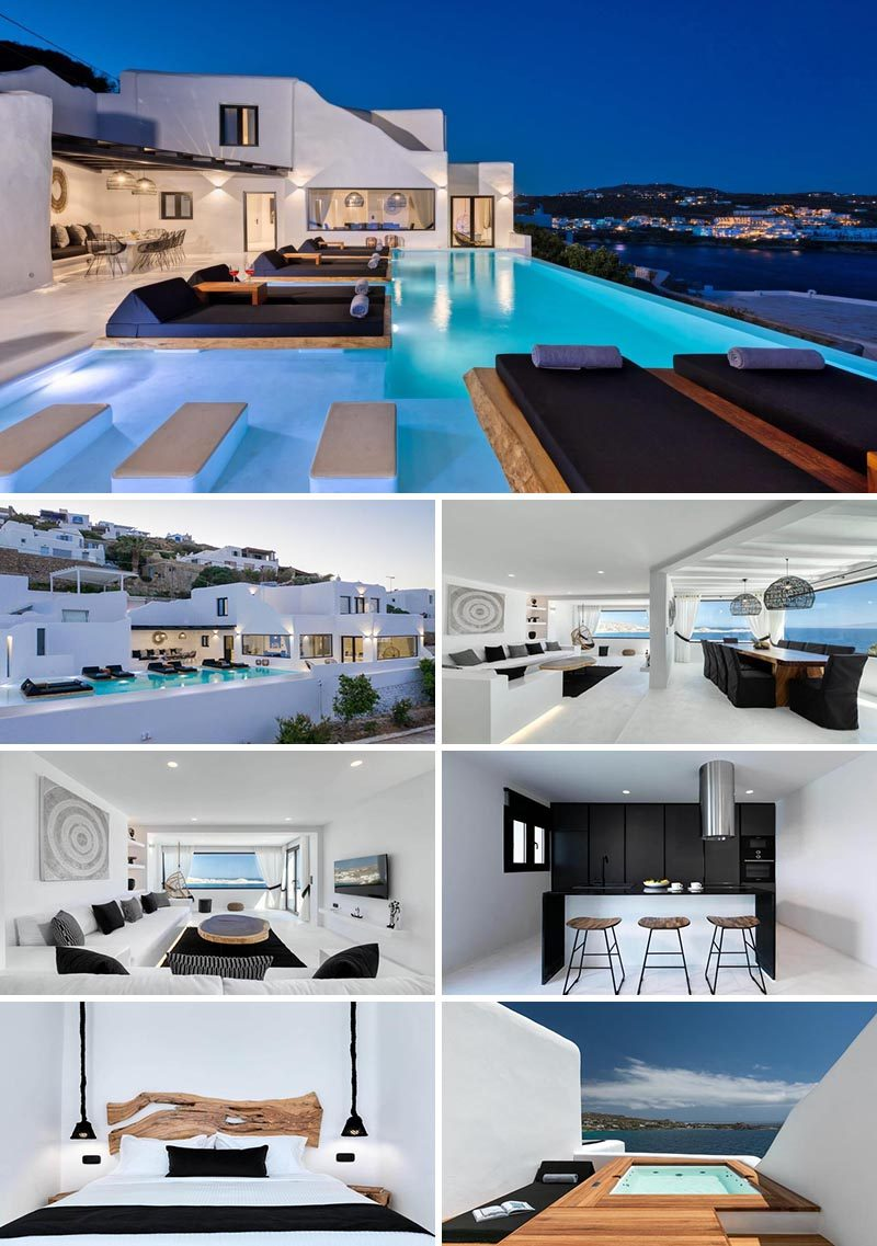Featuring elements from traditional Cycladic architecture, Villa Atelier provides unobstructed views of the Mykonos coastline and the Aegean Sea. #Mykonos #VacationIdeas #MykonosVillas
