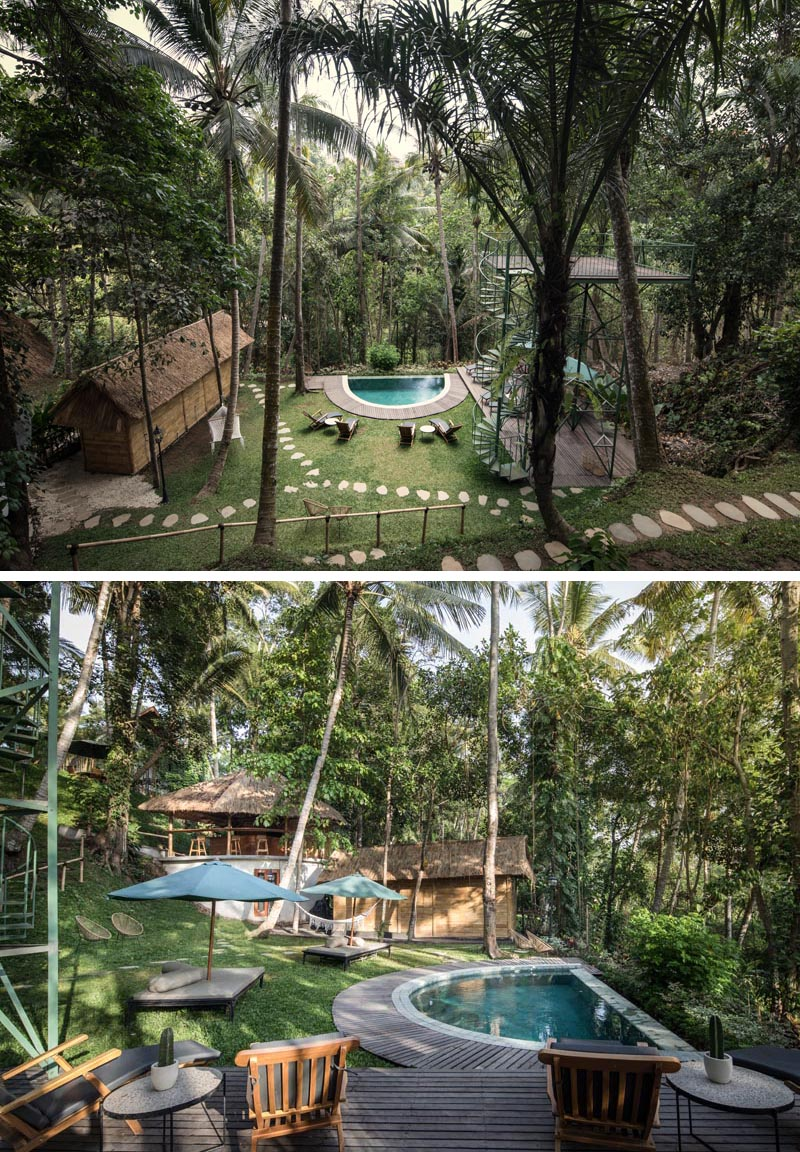 This Indonesian hotel is surrounded by a tropical park-like setting, has facilities like a sauna, a little pool, a bar, seating areas, and other small recreational areas. #TropicalHotel #TreetopHotel #BoutiqueHotel