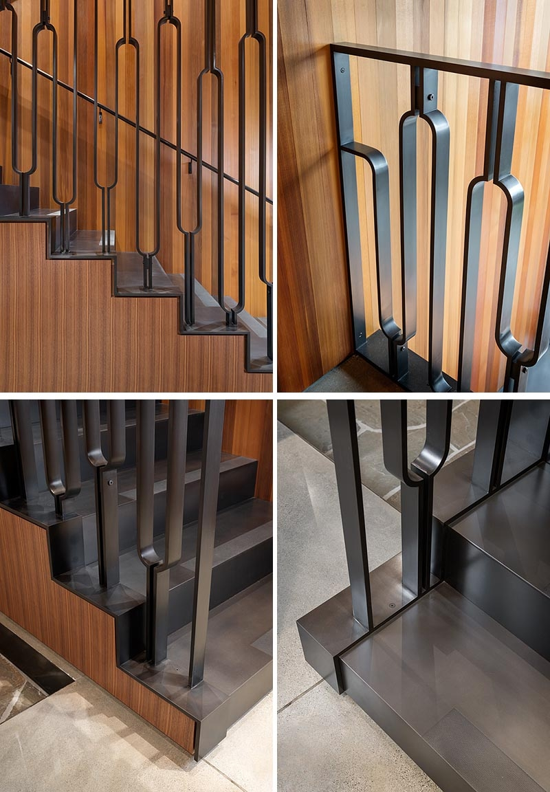 This Black Metal Stair Railing Makes A Strong Statement With Its U   Tubular Design For Stairs   Stainless Steel   Fully Covered Balcony Grill   Fabrication   Simple   Industrial