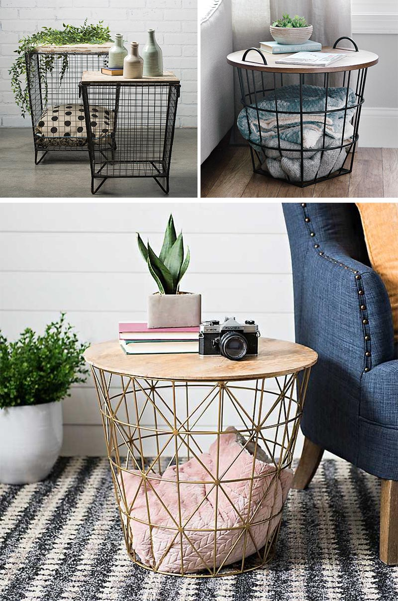 To add an industrial touch to your interior, consider wood and wire storage tables. These all have a base of a wire cage, idea for holding blankets, and a wood top, which can be used for a decorative display, a table lamp, or for your magazines and drinks. #StorageTable #IndustrialDesign #ModernDecor #BlanketStorage