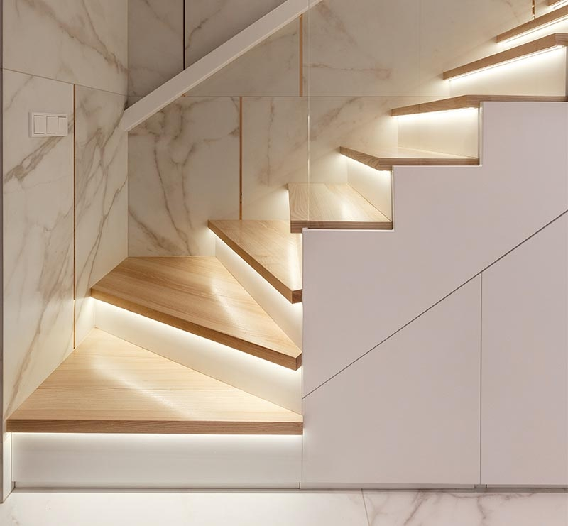 Lighting Under The Stair Treads Creates An Impressively   Modern Wood Stair Treads   Country Style   Box   Square Edge   Eased   Open Riser