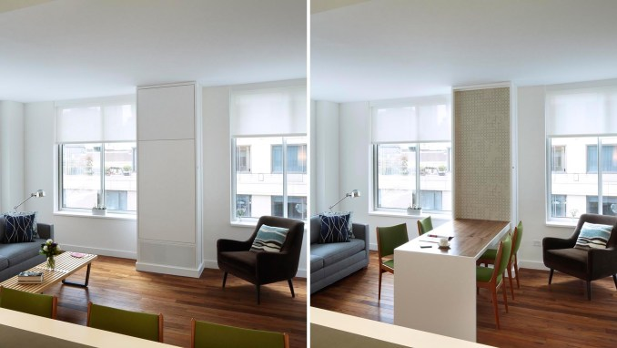 A fold-down dining table makes the most of the space in a small apartment.