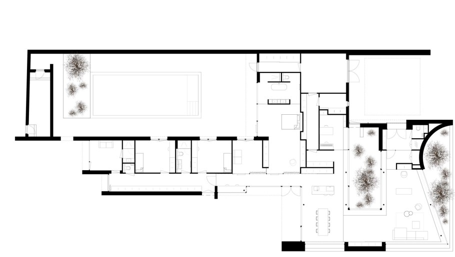 The floor plan of a modern single level home with a swimming pool.