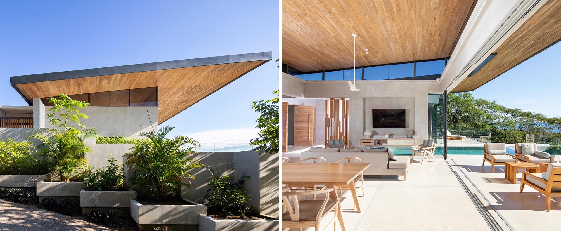 The sweeping and expansive angled roof of this modern home, which is lined with wood, allows for cross ventilation during the rainy and humid months.