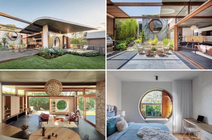 A rear home addition with circular accents, and designed for indoor / outdoor living.