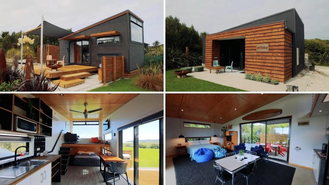 A pair of modern tiny homes that are rented out as holiday rentals.