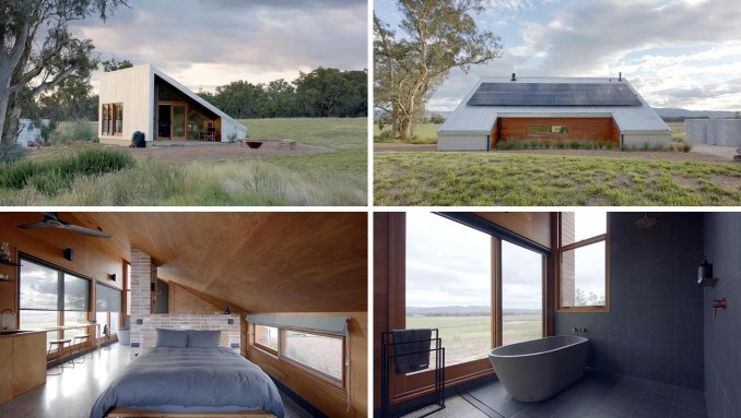 A modern off-grid tiny house designed as an Airbnb, includes corrugated metal siding, solar panels, and an open floor plan.