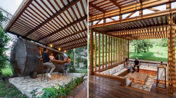 A covered outdoor entertaining space with a bar located within a repurposed water tank, and a sunken conversation pit.