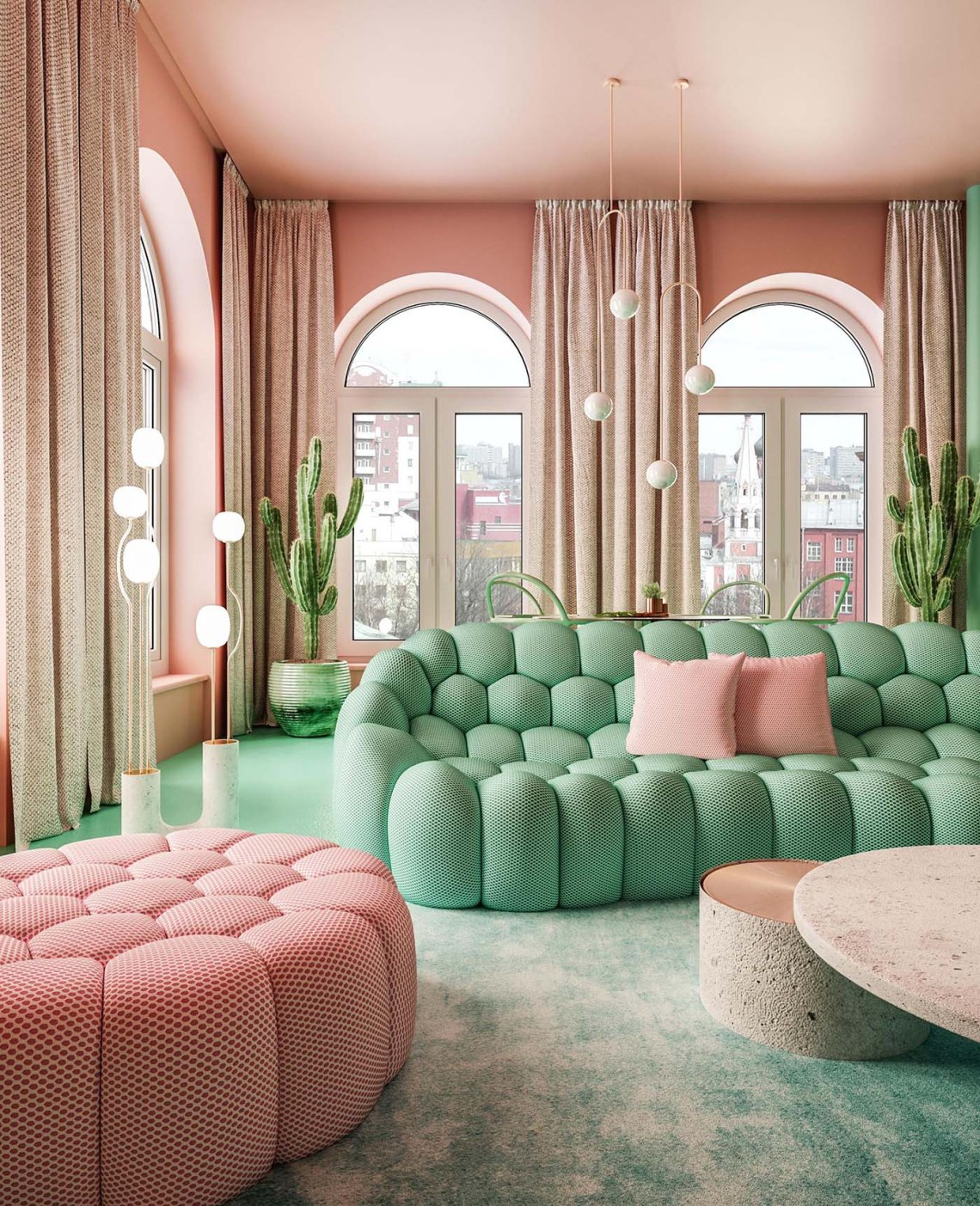 A Pastel Pink And Mint Green Color Palette Creates A Statement Interior For This New York Apartment