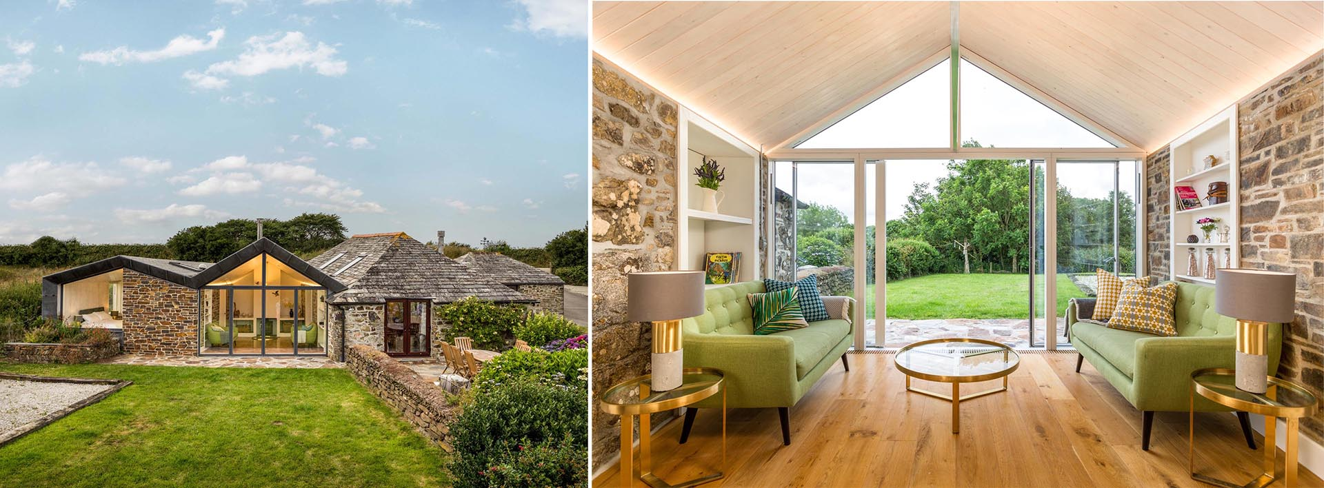 Key to the design of this extension is the way the new section of the home integrates with the old, and respects the original building materials.