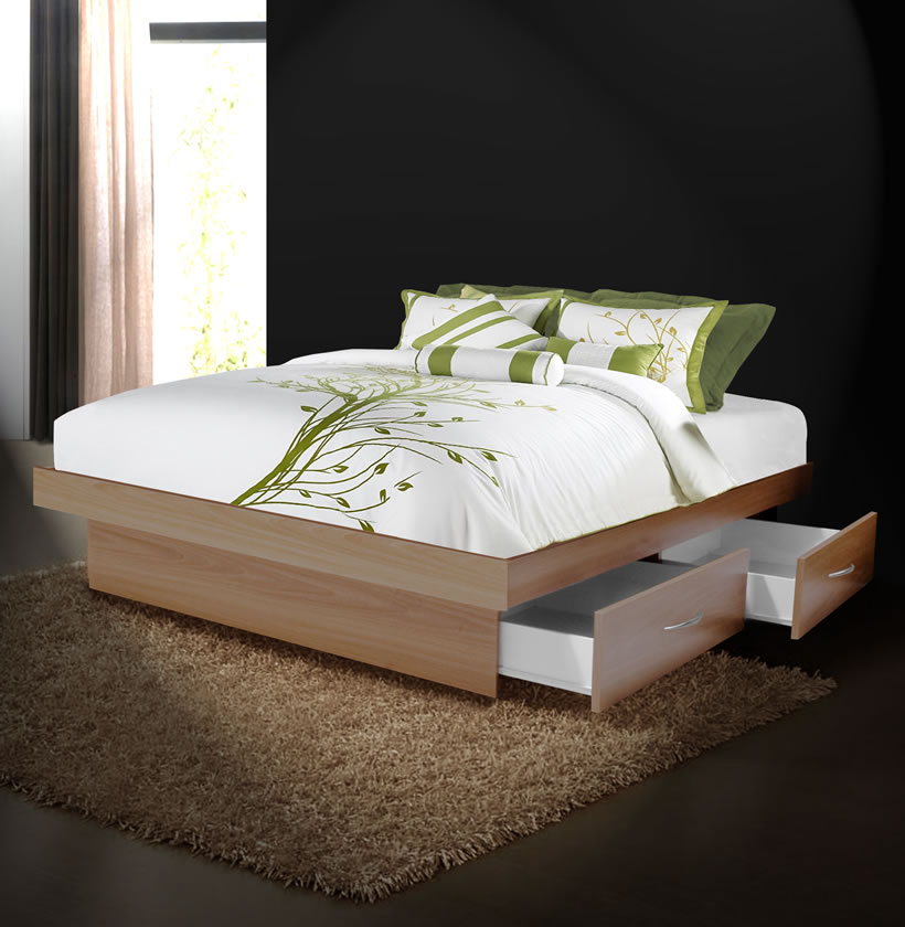 Queen Platform Bed With 4 Drawers Contempo Space