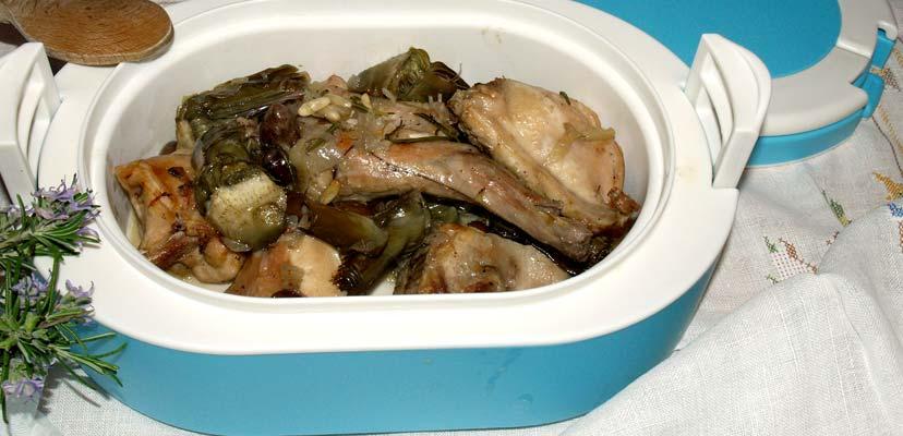 Coniglio con carciofi e olive taggiasche