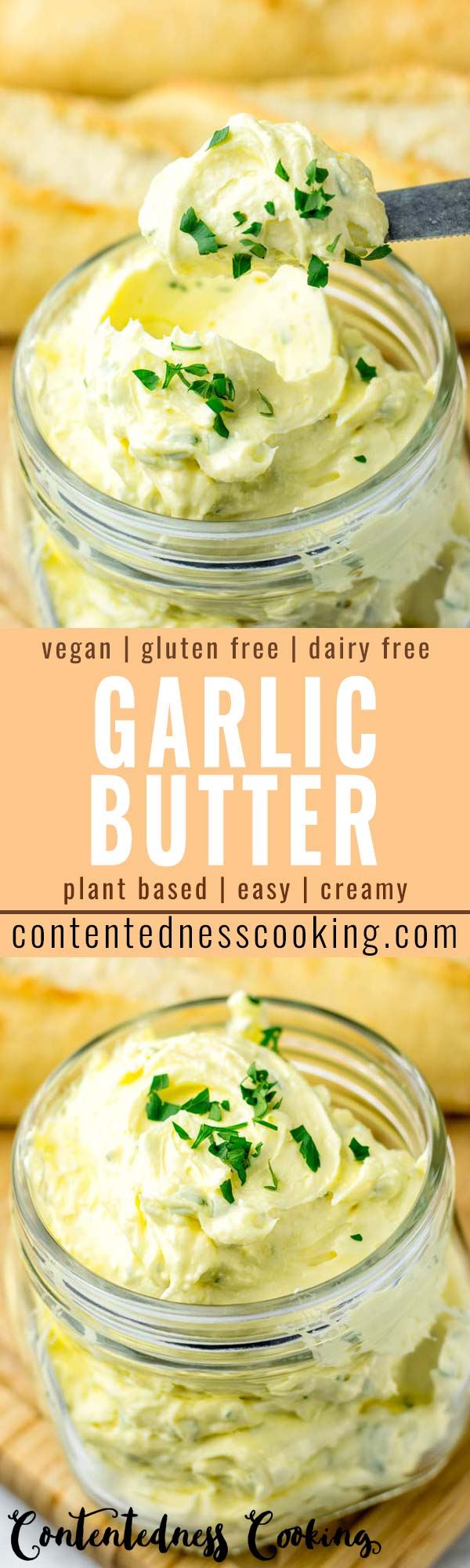 This Garlic Butter will be an instant hit at your house. No one would ever guess it is vegan and dairy free. It is delicious on bread, pasta, stir fry vegetables and more. Amazing for dinner, lunch, meal prep and even breakfast plus parties that the whole family will love. #vegan #dairyfree #glutenfree #garlicbutter #veganbutter #mealprep #dinner #lunch #budgetmeals #contentednesscooking #partyfood #bbqideas