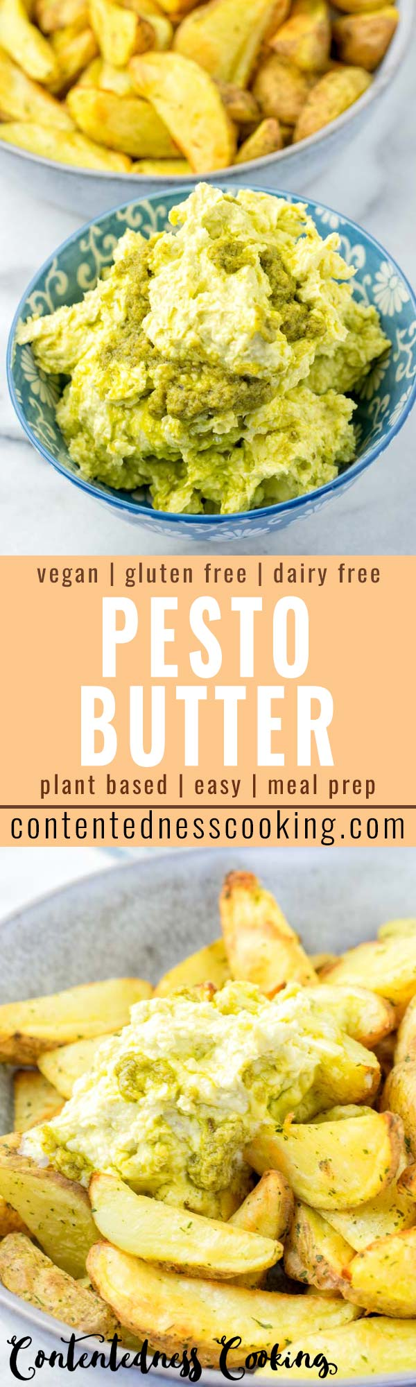 This Pesto Butter is super easy to make, versatile and so comforting. No one would ever guess it is vegan, gluten free, and it tastes so delicious over pasta, bread and potatoes. This will surely become a family favorite in no time. #vegan #dairyfree #glutenfree #pesto #butter #vegetarian #dinner #lunch #mealprep #comfortfood #contentednesscooking