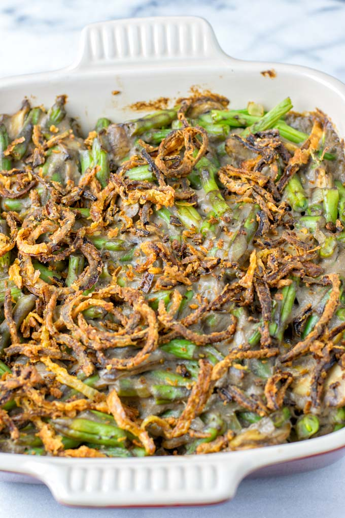 Only fresh ingredients are used for making this Green Bean Casserole.