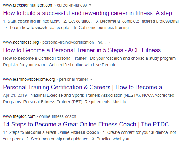 Google search results for fitness trainer