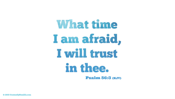 What time I am afraid, I will trust in thee. Psalm 56:3 (KJV)