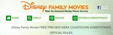 Disney Family Movies FREE PREVIEW WEEK COUNTDOWN SWEEPSTAKES
