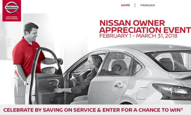 The 2018 Nissan Owner Appreciation Event Sweepstakes – Chance to Win a Nissan Service Gift Card