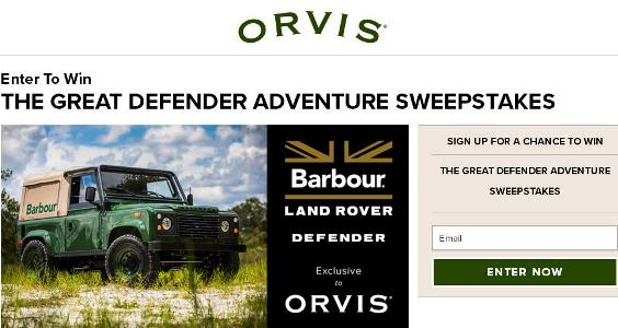 Orvis Barbour Land Rover Sweepstakes – Chance to Win A fully restored 1995 Land Rover Defender
