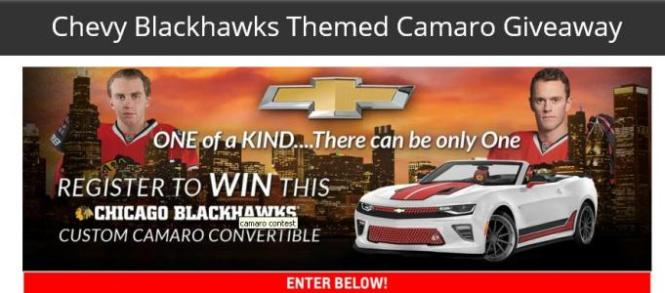 Chevy Blackhawks Themed Camaro Giveaway – Stand Chance to Win a 2018 Chevy Chicago Blackhawks Themed Camaro
