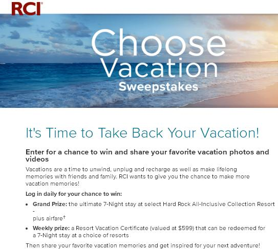 RCI The Choose Vacation Sweepstakes – Chance to Win A Hard Rock Certificate, Resort Vacation Certificate